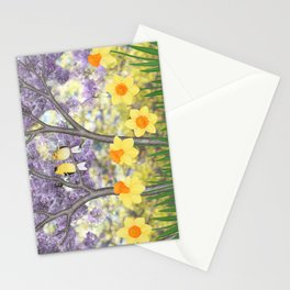 goldfinches, lilacs, & daffodils Stationery Cards