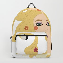 Digital illustration hippie girl moon phases flower power 70s style design inspirration Backpack