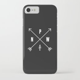 PNW Pacific Northwest Compass - White on Black Minimal iPhone Case