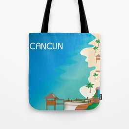 Cancun, Mexico - Skyline Illustration by Loose Petals Tote Bag