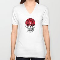 indonesia V-neck T-shirts featuring Sugar Skull with Roses and Flag of Indonesia by Jeff Bartels