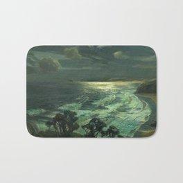 Midnight Moonlight, St Ives' Bay nautical coastal landscape painting by Julius Olsson Bath Mat