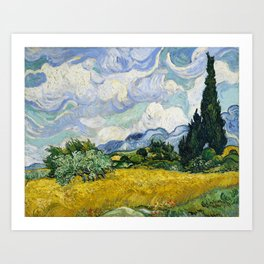 Wheat Field with Cypresses Art Print