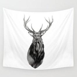 Bull Elk Encounter Wall Tapestry
