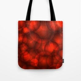 Glowing bloody soap circles and volumetric red bubbles of air and water. Tote Bag
