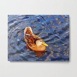 Duck on Surreal Waters Metal Print