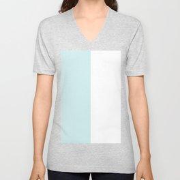 White and Light Cyan Vertical Halves Unisex V-Neck