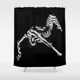 4256s-DEW Black White Nude Fit Woman Zebra Stripe Abstract Feminine Power and Flexibility Shower Curtain