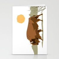 bison Stationery Cards featuring Bison by Emre Özbay