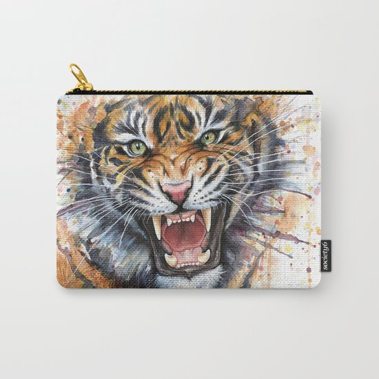 Tiger Watercolor Wild Animal Jungle Animals Carry-All Pouch