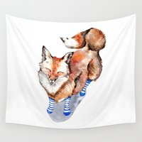 socks Wall Tapestries featuring Smiling Red Fox in Blue Socks by Goosi