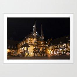 Wernigerode Rathaus bei Nacht Art Print