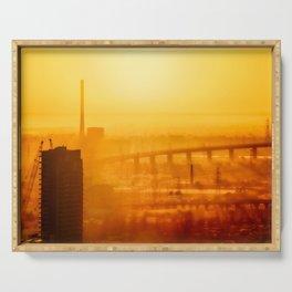 Burning Sunset Through Smog Serving Tray