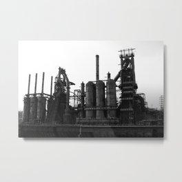 Bethlehem Steel Blast Furnaces in black and white 6 Metal Print