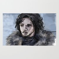 jon snow Area & Throw Rugs featuring Jon Snow by amberandtigers