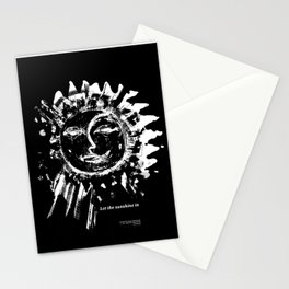 Sun and moon black ad white drawing Stationery Cards