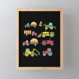 Cool Tractor Drawing Farm Lover Agriculture Kid Framed Mini Art Print
