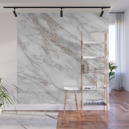 Pink Rose Gold Blush Metallic Glitter Foil on Gray Marble Wall Mural