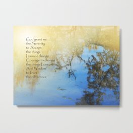 Serenity Prayer Pond Reflections Metal Print