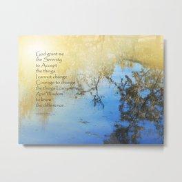 Serenity Prayer Pond Reflections Metal Print