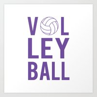 volleyball Art Prints featuring Volleyball (lavendar) by raineon