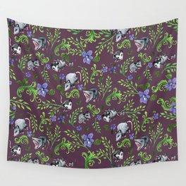 Opossum, Fern, & Violet Print Wall Tapestry