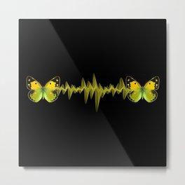 Pulse - Yellow butterflies sound waves Metal Print