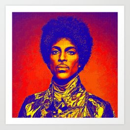 A digitally drawing of Prince (colour) Art Print
