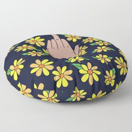 Middle Finger Floral Floor Pillow
