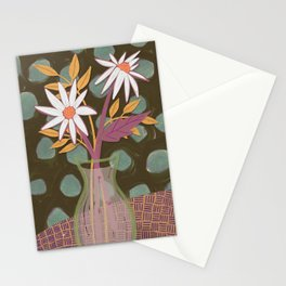 Daisies for You Dark Green Stationery Cards