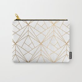 Geometric Gold Pattern With White Shimmer Carry-All Pouch