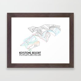 Keystone, CO - Minimalist Trail Map Framed Art Print