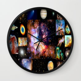 Space Galaxy Nebula Collage Wall Clock