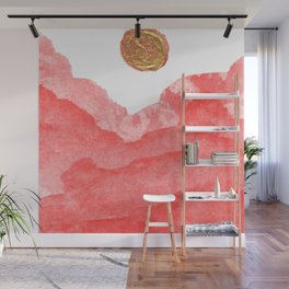 Red watercolor abstract mountains and moon Wall Mural