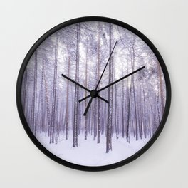 Snow in Trees Wall Clock