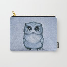 """""""The Little Owl"""" by Amber Marine ~ (Blueberry Version) Graphite & Ink Illustration, (Copyright 2016) Carry-All Pouch"""