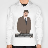 swanson Hoodies featuring Ron Swanson by Jack Cruden
