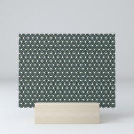 Circle Polka Dot Pattern 2, Night Watch, Alpaca Wool Cream and Scarborough Green Mini Art Print