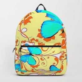 DECORATIVE BLUE BUTTERFLIES YELLOW FLORAL PATTERN Backpack