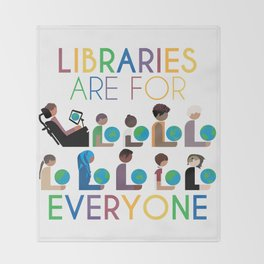 Rainbow Libraries Are For Everyone: Globes Throw Blanket