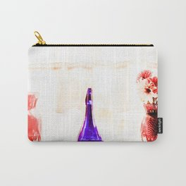 silk flowers in the red vase in kitchen Carry-All Pouch