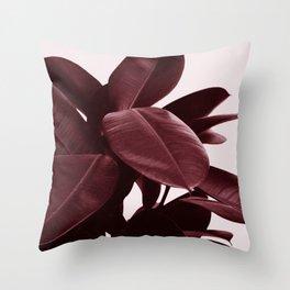 Burgundy Ficus Throw Pillow