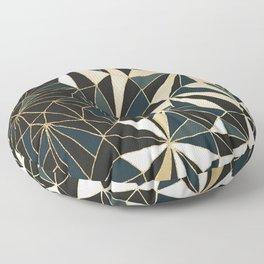 New Art Deco Geometric Pattern - Emerald green and Gold Floor Pillow