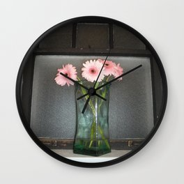 pink daisies ~ flowers on vintage sill Wall Clock