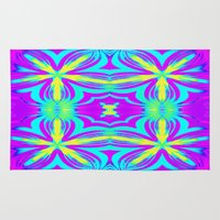 psychedelic Area & Throw Rugs featuring psychedelic Floral Fuchsia Aqua by 2sweet4words Designs