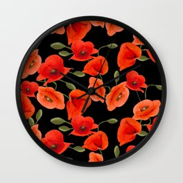 Poppies on black background Wall Clock