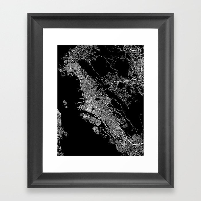 oakland map california Gerahmter Kunstdruck