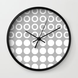 Mid Century Modern Circles And Dots Grey Wall Clock
