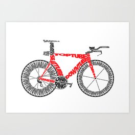 Typographical Anatomy of a Time Trial Bike Art Print