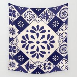 Blue Talavera Mosaic Pattern by Akbaly Wall Tapestry